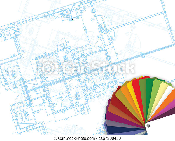 blueprint and palette of colors - csp7300450