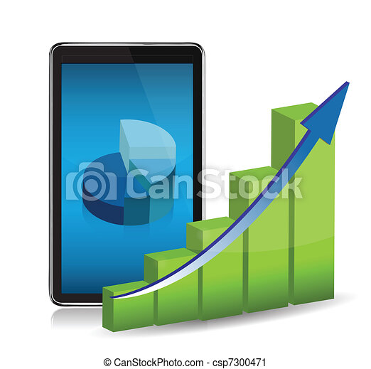 computer tablet showing charts - csp7300471