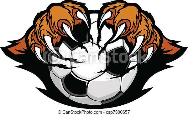 Soccer Ball With Tiger Claws Vector - csp7300657