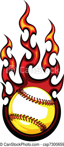 Baseball with Flames Vector Image - csp7300659