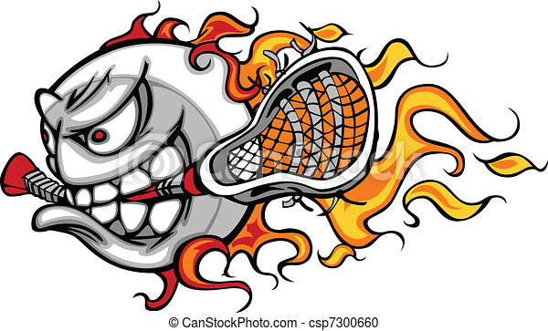 Lacrosse Ball Flaming Face Vector I - csp7300660