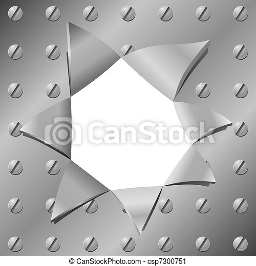 Vector illustration of a metal plate with a hole - csp7300751