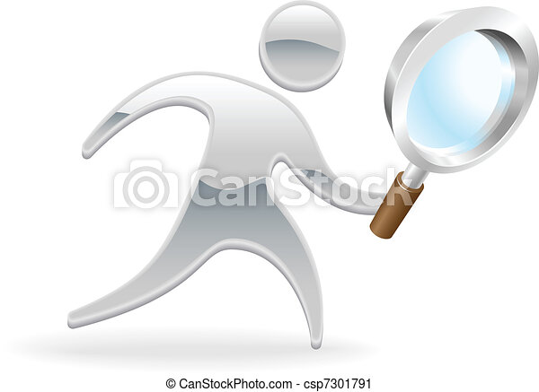Metallic character magnifying glass concept - csp7301791