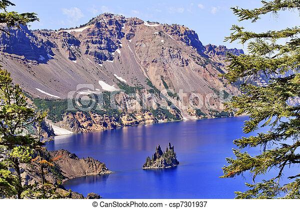 Phantom Ship Island Crater Lake Reflection Blue Sky Oregon - csp7301937
