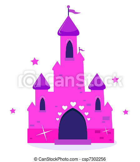 Pink Princess cartoon castle isolated on white   - csp7302256
