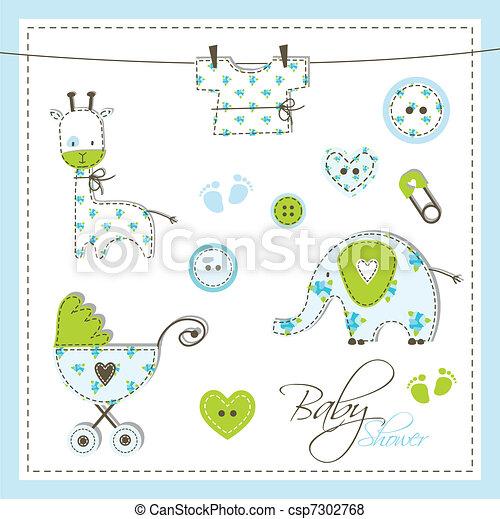 Baby shower design elements - csp7302768