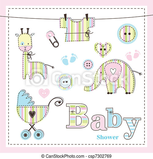 Baby shower design elements - csp7302769
