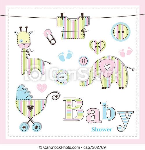 Baby shower design elements - csp7302769