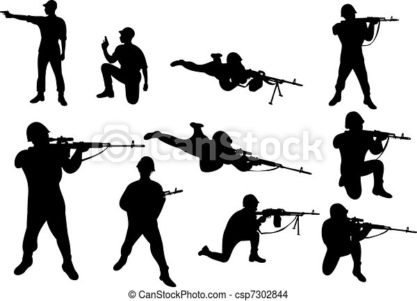 Eps Vector Of Soldiers With The Weapon Shooting From The