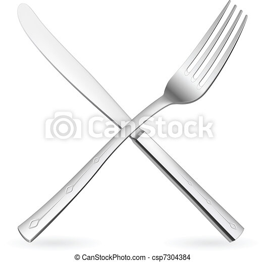 Crossed fork and knife. - csp7304384