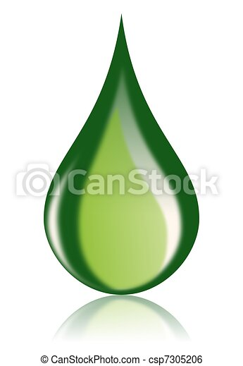 Green Oil Drop Bio Fuel Icon - csp7305206