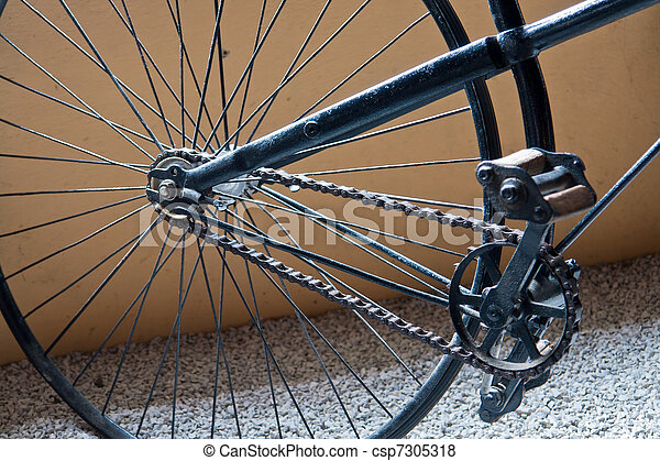 Close Details of a Vintage Antique Old Classical Black Bicycle