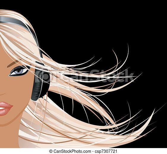 Girl With Earphones Drawing Girl With Headphones