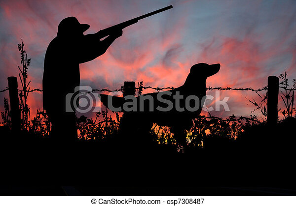 Sunrise Hunt, A Hunter and his Dog - csp7308487