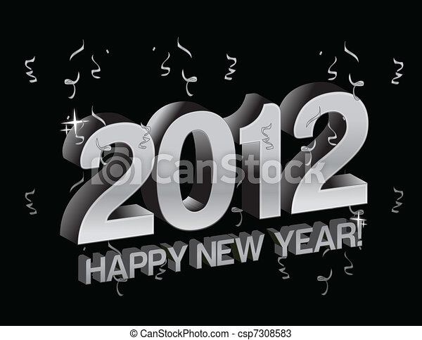 happy new year 2012 with confetti - csp7308583