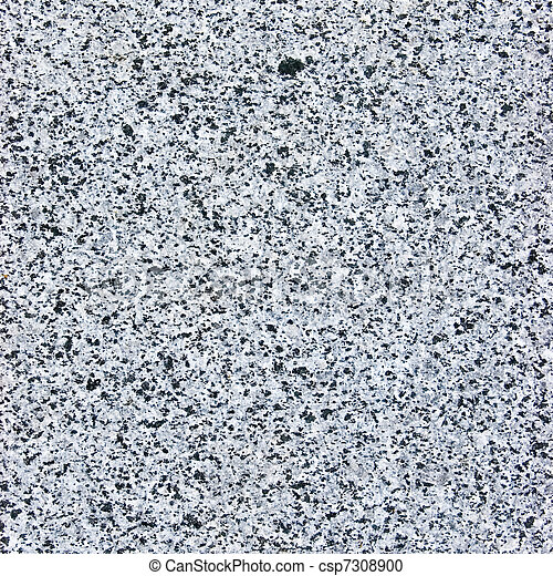 Rough cut granite stone texture, natural grey background, coarse spotted gray plate macro closeup - csp7308900