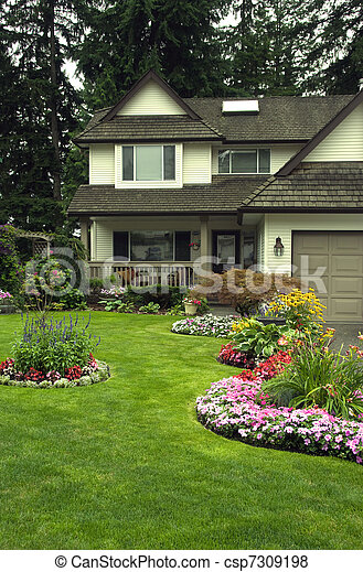 Manicured  Home and Yard - csp7309198