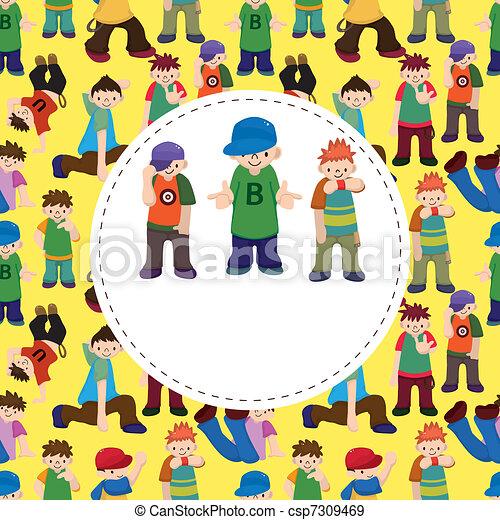 cartoon hip hop boy dancing  card - csp7309469