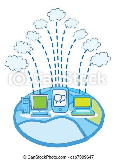 Global Data cloud computing vector - csp7309647