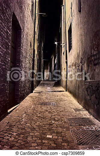 narrow  lane in the old town - csp7309859