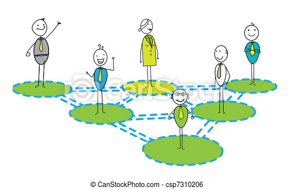 Businessman & woman networking Link - csp7310206