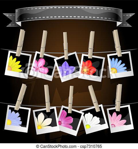 Album Display with Flowers - csp7310765