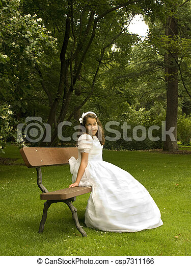 Girl in her first communion day - csp7311166