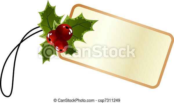 Blank promo christmas tag with holly - csp7311249