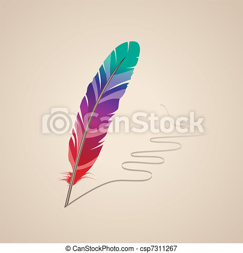 Many-coloured feather on beige background - csp7311267