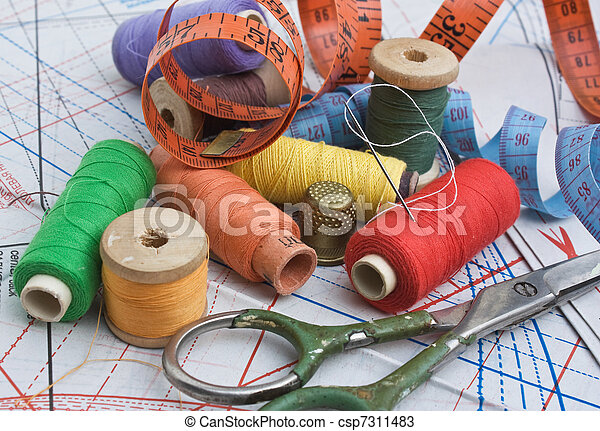 various sewing accessories in the scheme - csp7311483