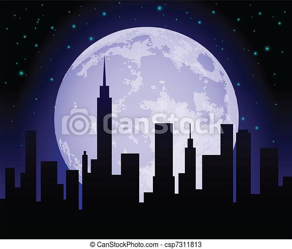 Vecteurs de ville, Horizon, nuit - silhouette, de, a ...