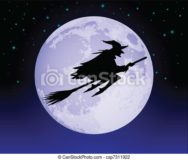 Witch Flying Past the Moon - csp7311922