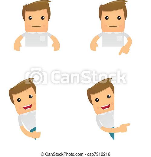 set of funny cartoon casual man - csp7312216