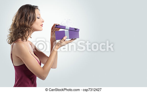 attractive woman open gift box - csp7312427