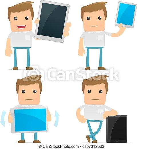 set of funny cartoon casual man - csp7312583