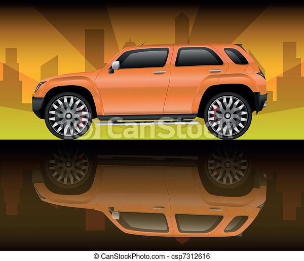 Orange sports utility vehicle - csp7312616
