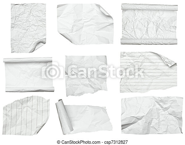 white crumpled  paper with curled edge - csp7312827