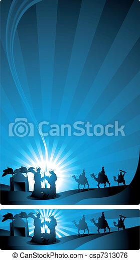 banner nativity scene - csp7313076