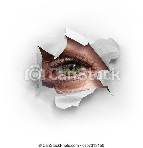 Photographies de jeter un coup d 39 oeil furtif trou par female oeil vert csp7313150 - Jeter un coup d oeil anglais ...