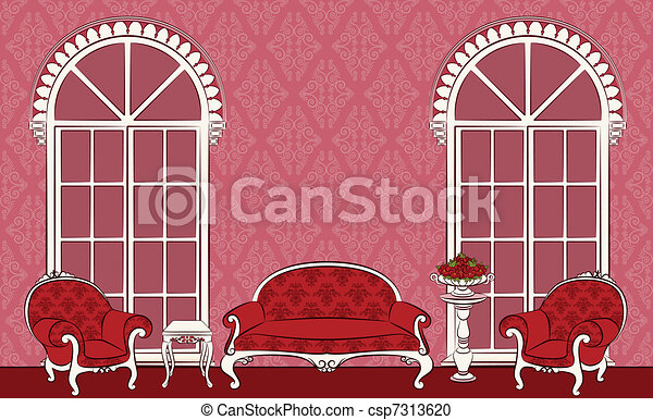 The vintage interior with furniture - csp7313620