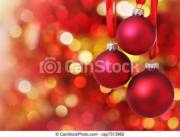 Christmas tree decorations on lights background - csp7313982