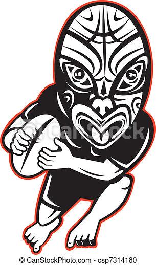 Illustration de porter maori rugby masque joueur courant dessin csp7314180 - Dessin de joueur de rugby ...