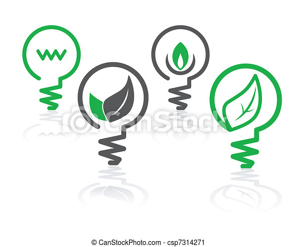environment green light bulb icons - csp7314271