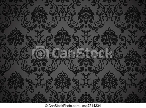 dessin de sombre baroque papier peint noir et gris. Black Bedroom Furniture Sets. Home Design Ideas