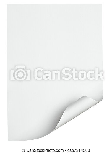 white paper with curled edge - csp7314560