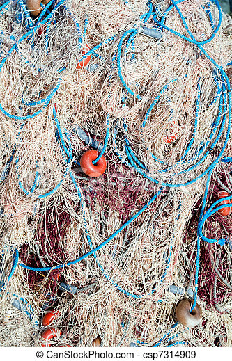 fishing net tackle textures from Mediterranean - csp7314909