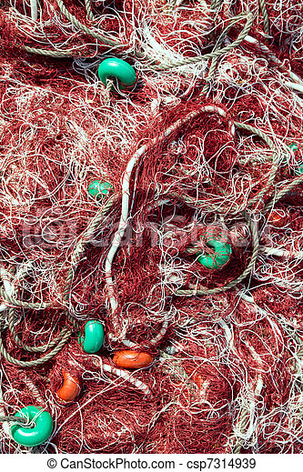 fishing net tackle textures from Mediterranean - csp7314939