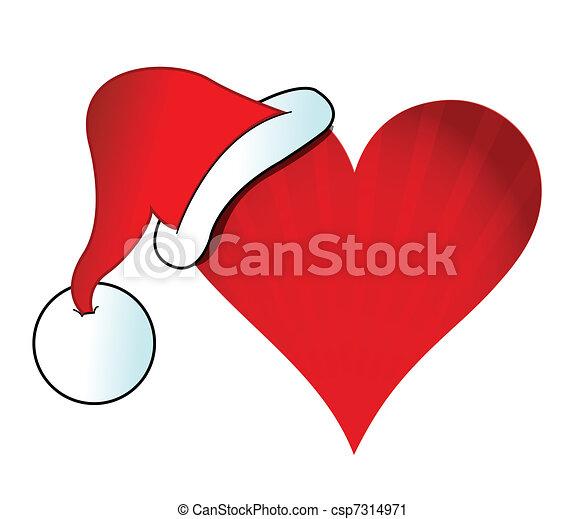 Vector Clip Art of santa hat heart illustration design csp7314971 ...