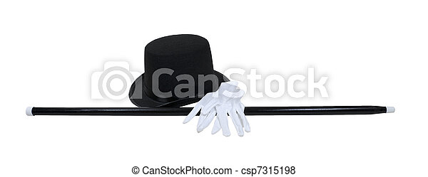Pictures of Top Hat Black Cane White Gloves - Top hat with a black ...