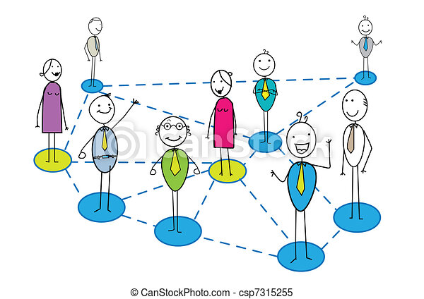 business network with many business - csp7315255